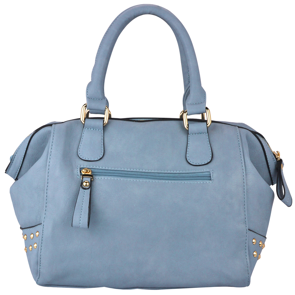 QIEA Blue Gold Studded Tote Purse Back