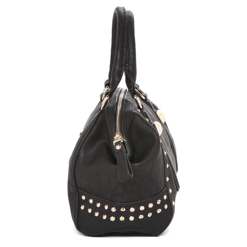 QIEA Black Gold Studded Tote Purse Side