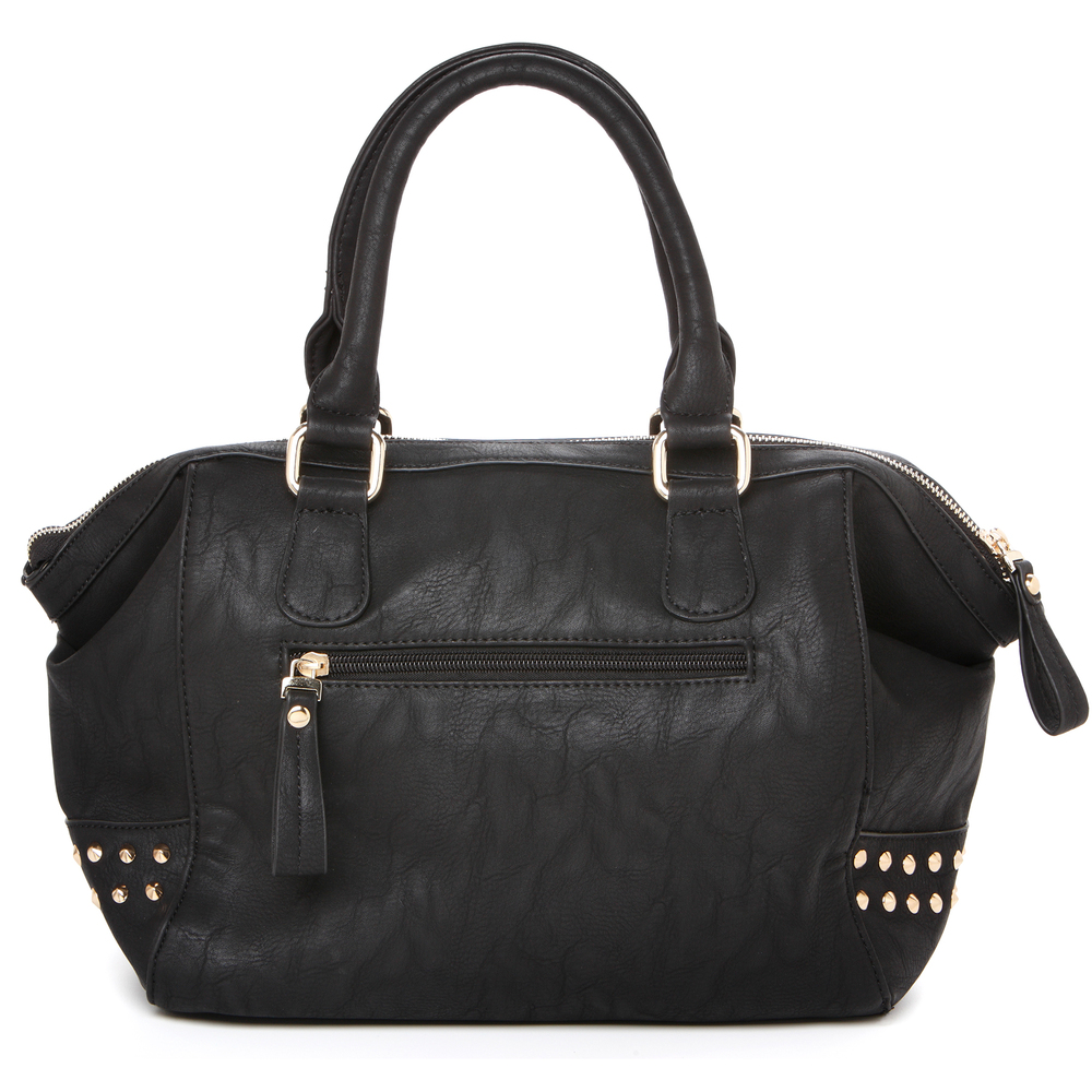 QIEA Black Gold Studded Tote Purse Back