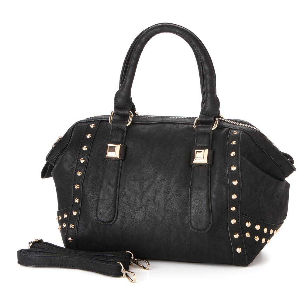 QIEA Black Gold Studded Tote Purse Main