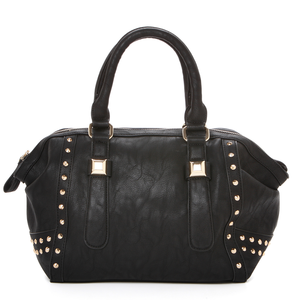 QIEA Black Gold Studded Tote Purse Front