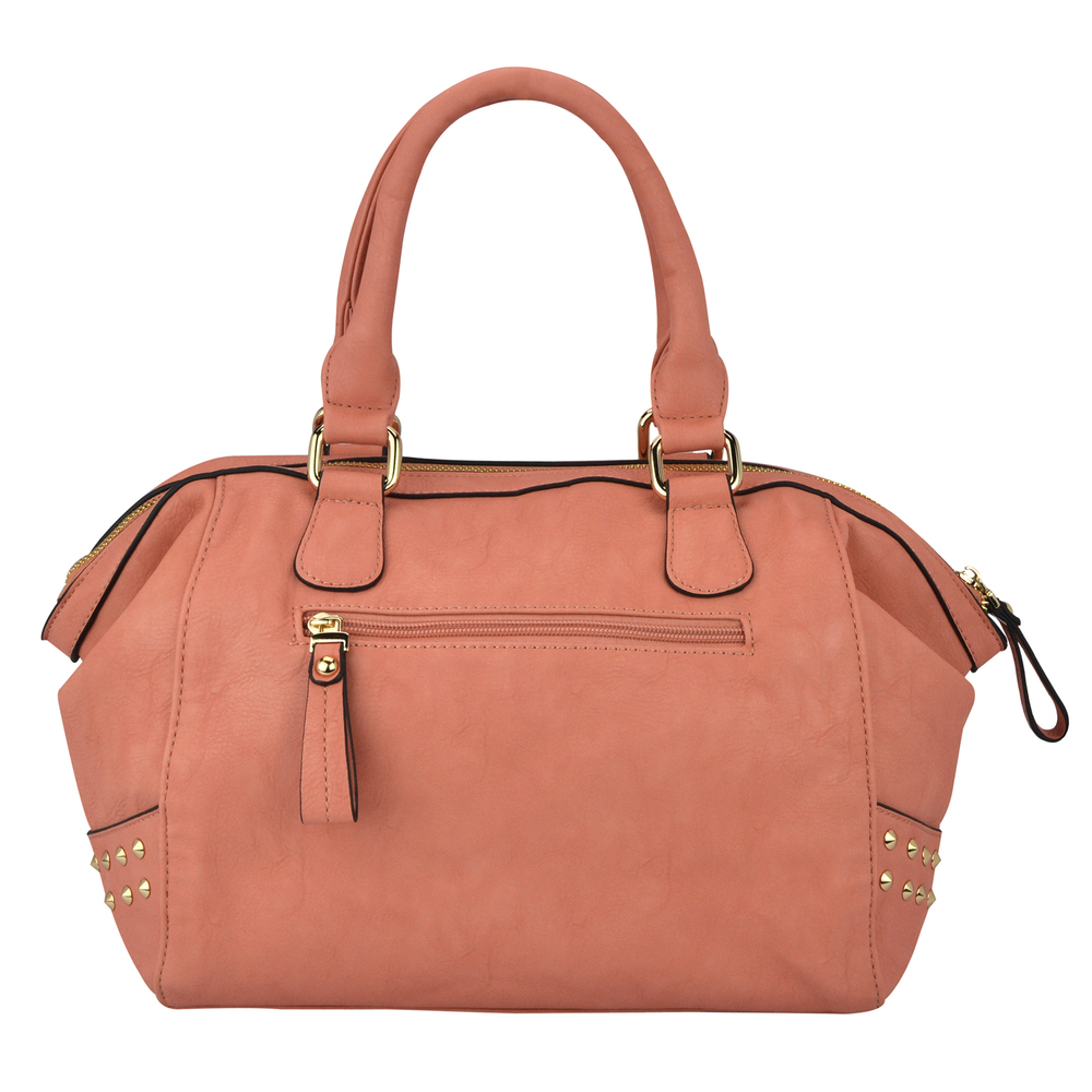 QIEA Peach Gold Studded Tote Purse Back