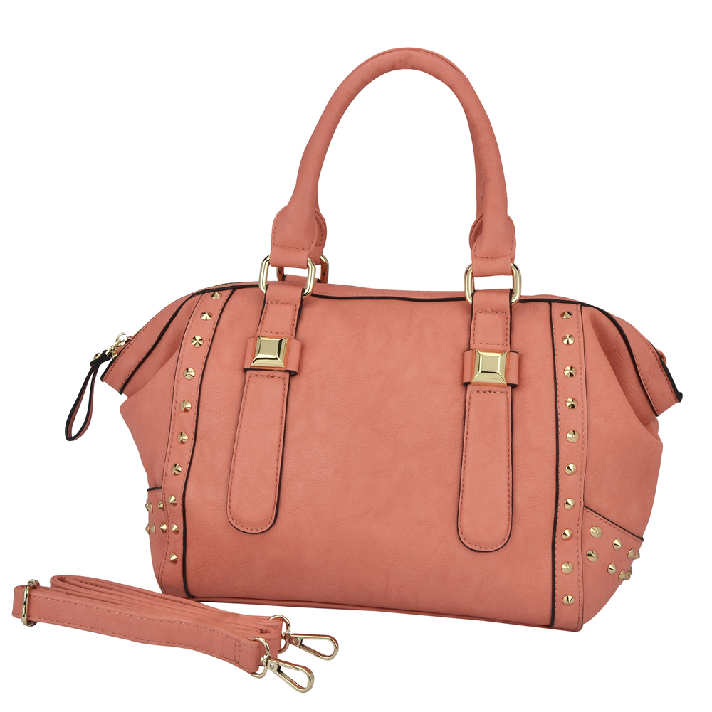 QIEA Peach Gold Studded Tote Purse Main