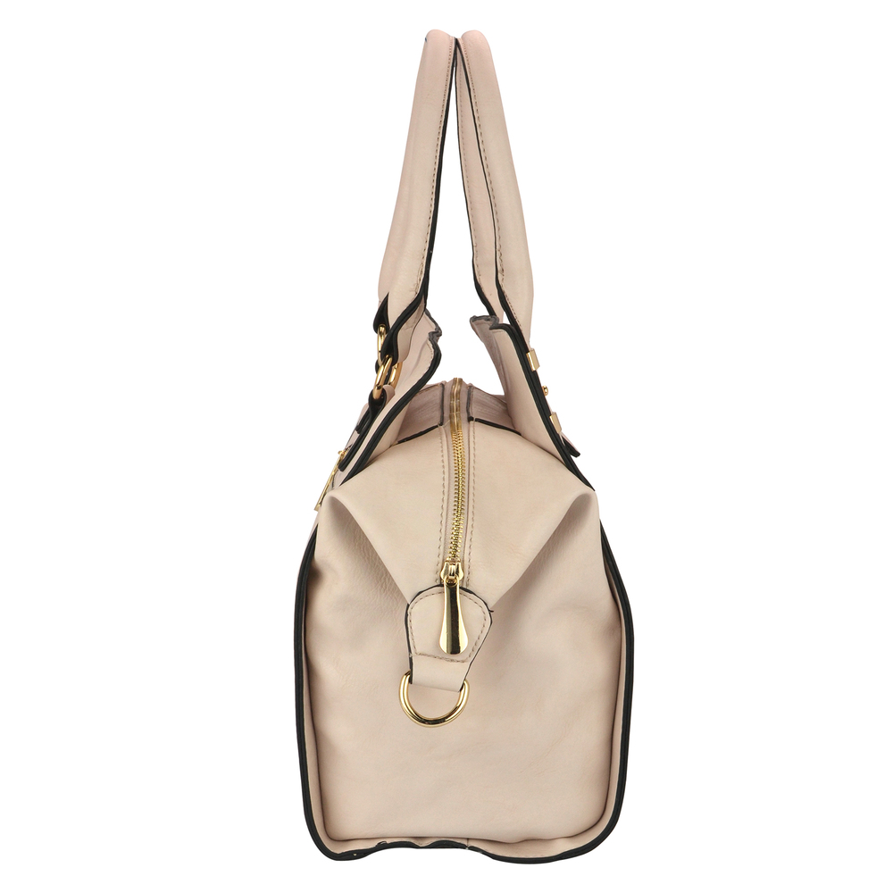 LEA Beige Top Handle Office Tote Purse Side