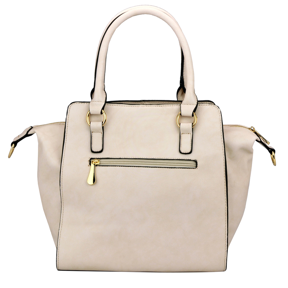 LEA Beige Top Handle Office Tote Purse Back