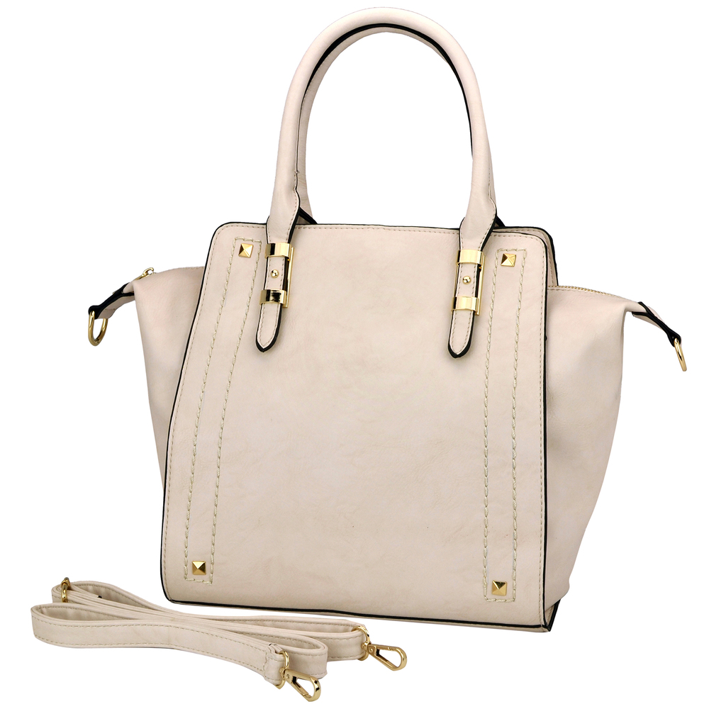 LEA Beige Top Handle Office Tote Purse Main