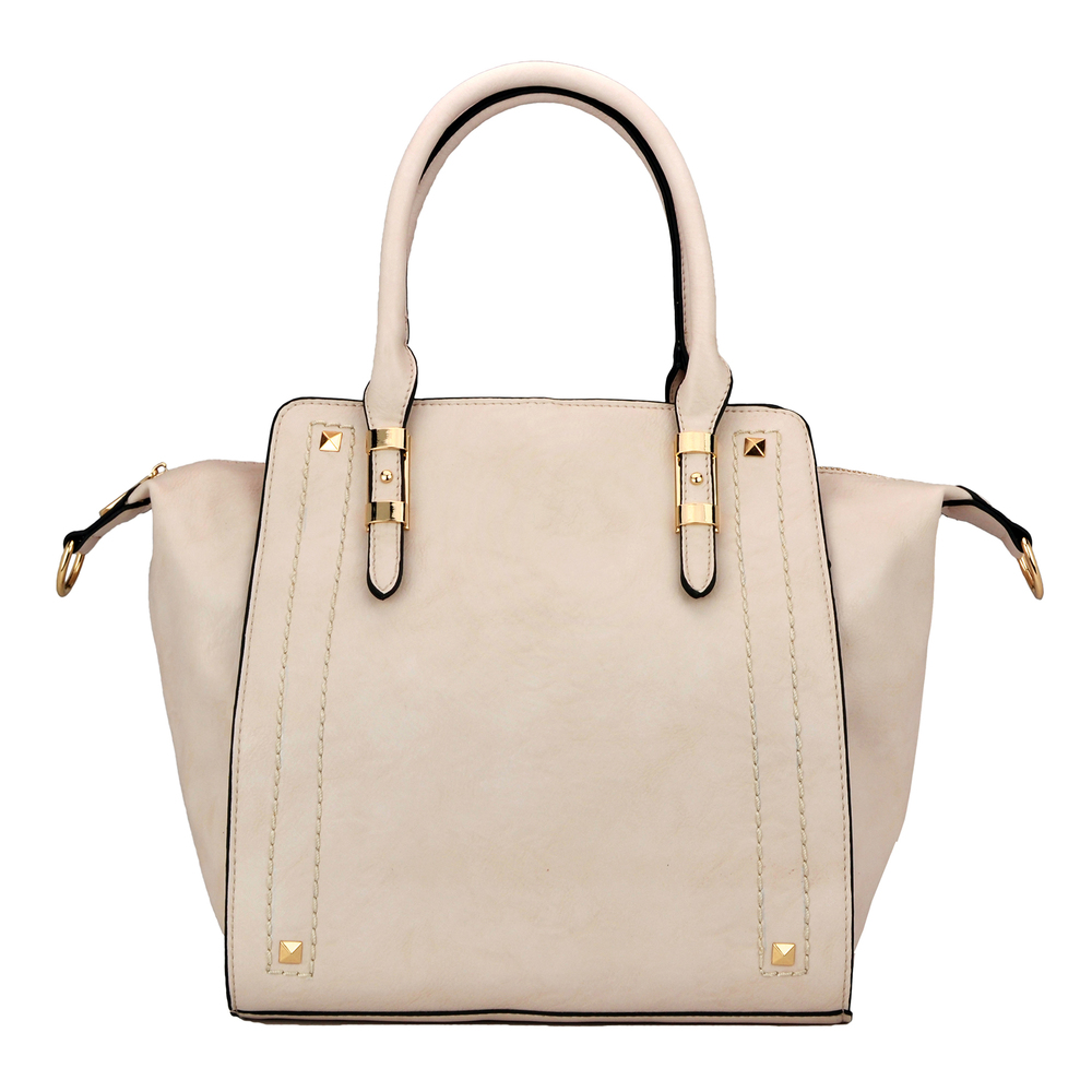 LEA Beige Top Handle Office Tote Purse Front