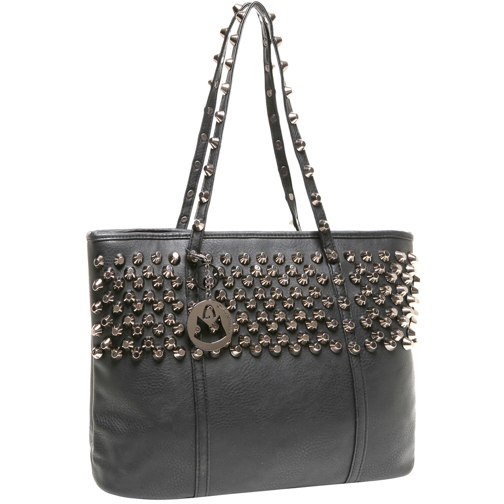 ALDA Black Studded Shopper Tote Purse Main