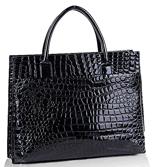 MAXX Black Crocodile Print Top Handle Handbag Back