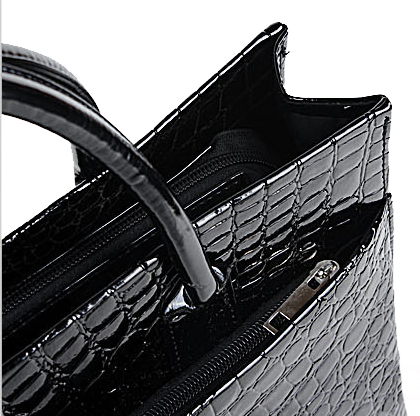 MAXX Black Crocodile Print Top Handle Handbag Closeup