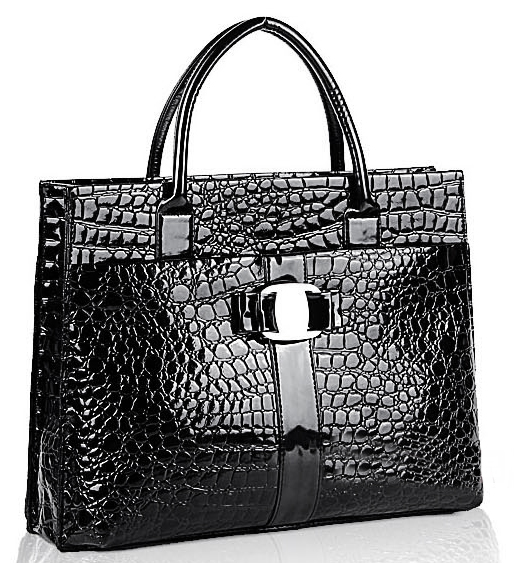 MAXX Black Crocodile Print Top Handle Handbag Main