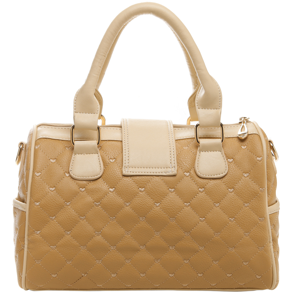 KARASI Dual-tone Beige Quilted Bowler Purse Back