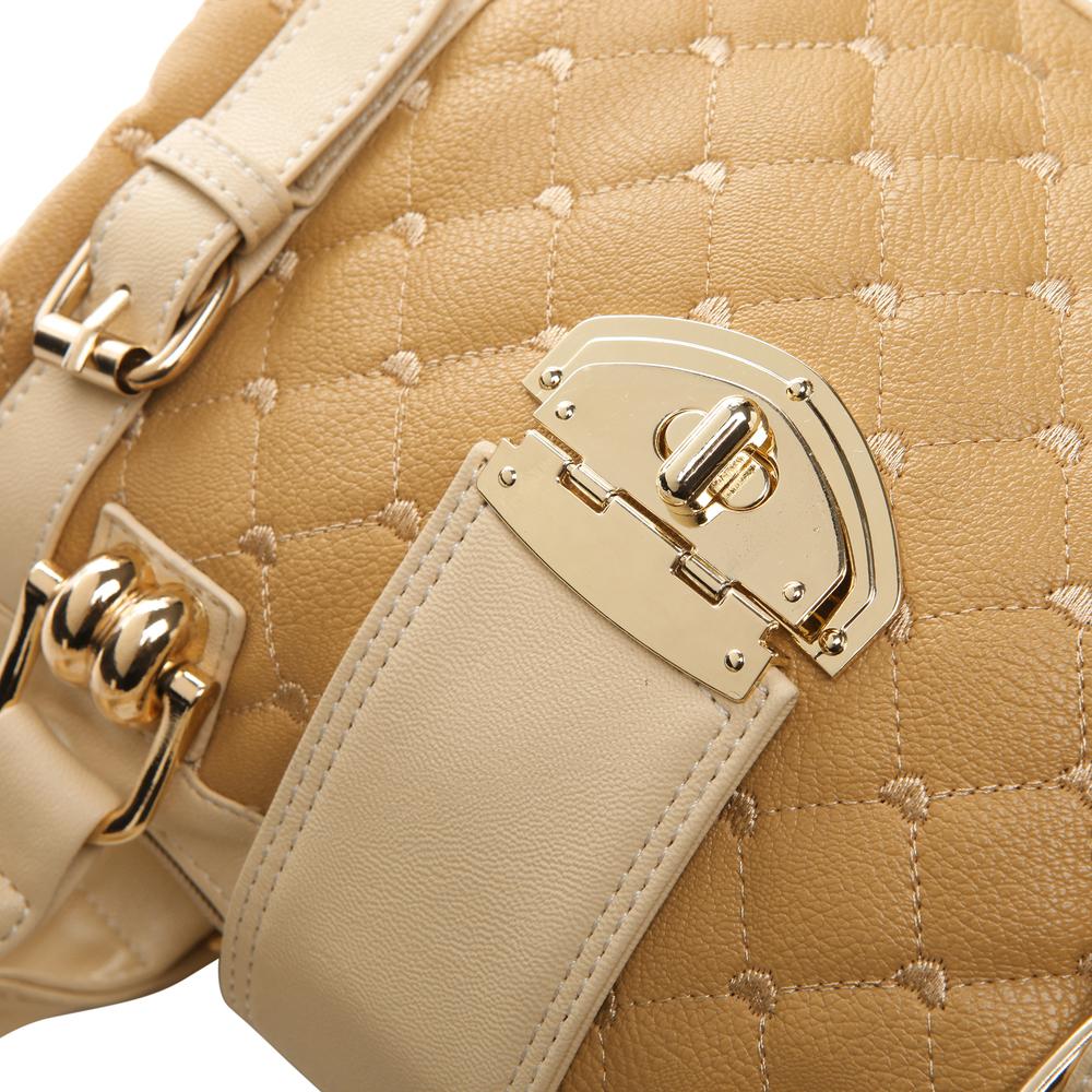 KARASI Dual-tone Beige Quilted Bowler Purse Closeup