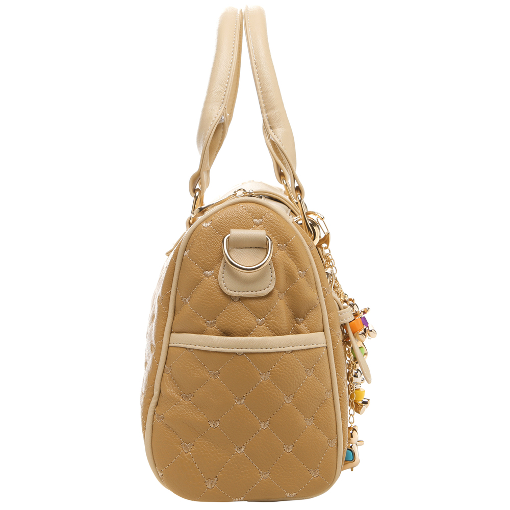 KARASI Dual-tone Beige Quilted Bowler Purse Side
