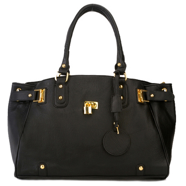 LUCCA Black Padlock Shopper Purse Front