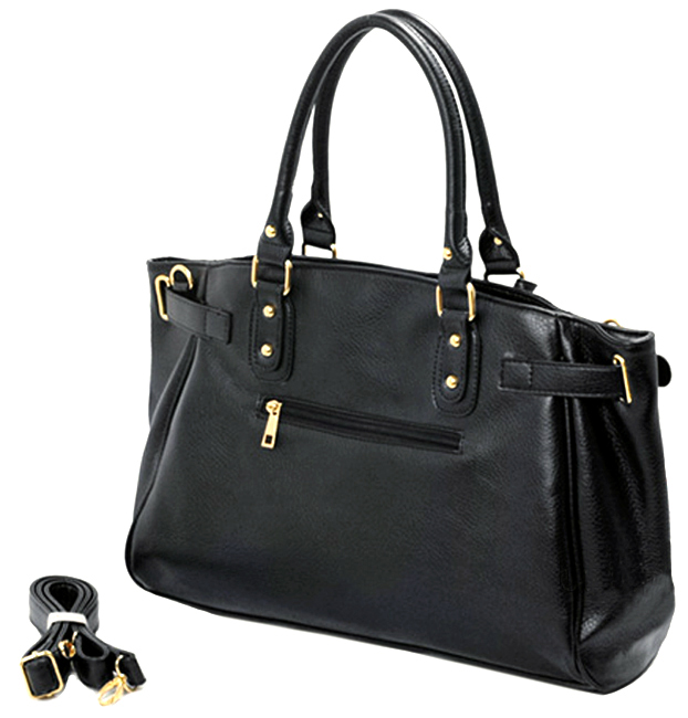LUCCA Black Padlock Shopper Purse back