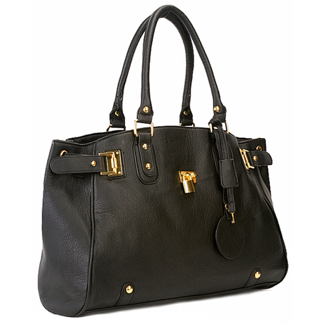 LUCCA Black Padlock Shopper Purse Main