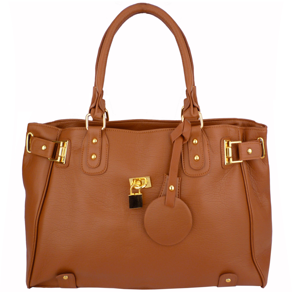 LUCCA Brown Padlock Shopper Purse Front