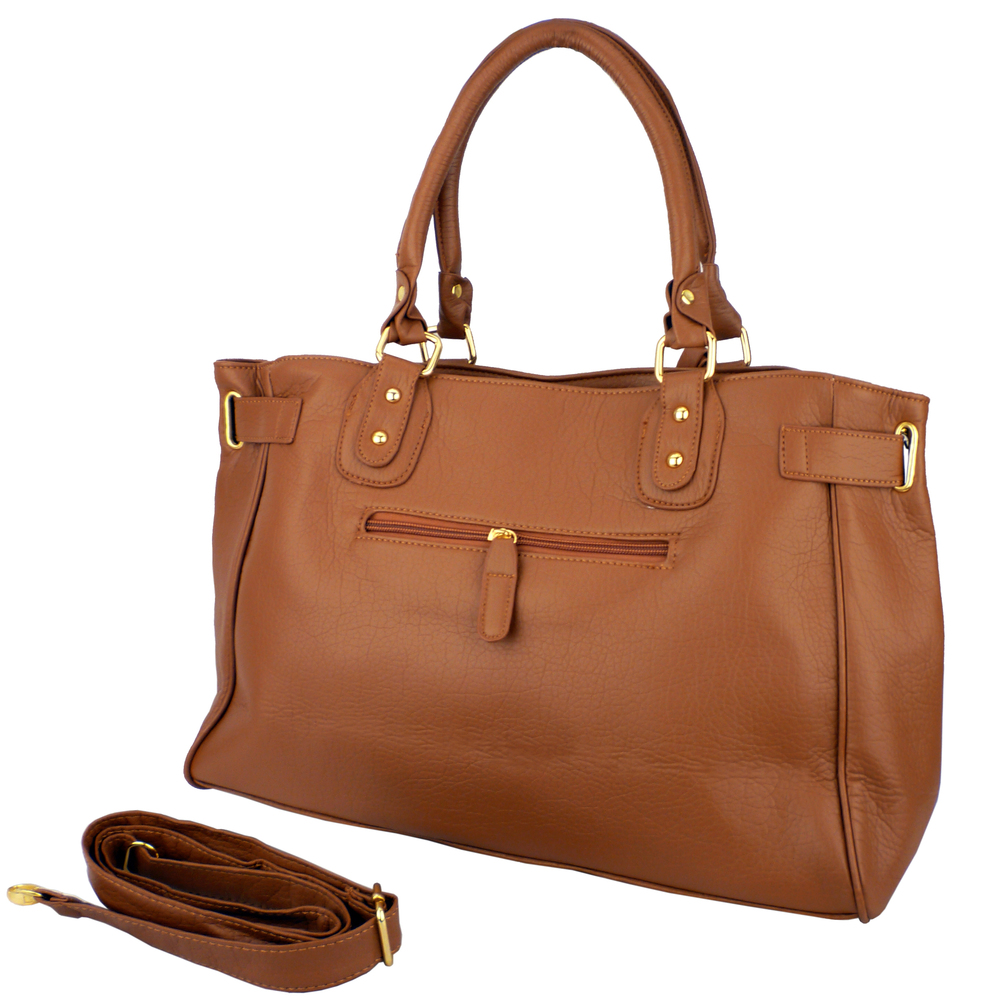LUCCA Brown Padlock Shopper Purse Back