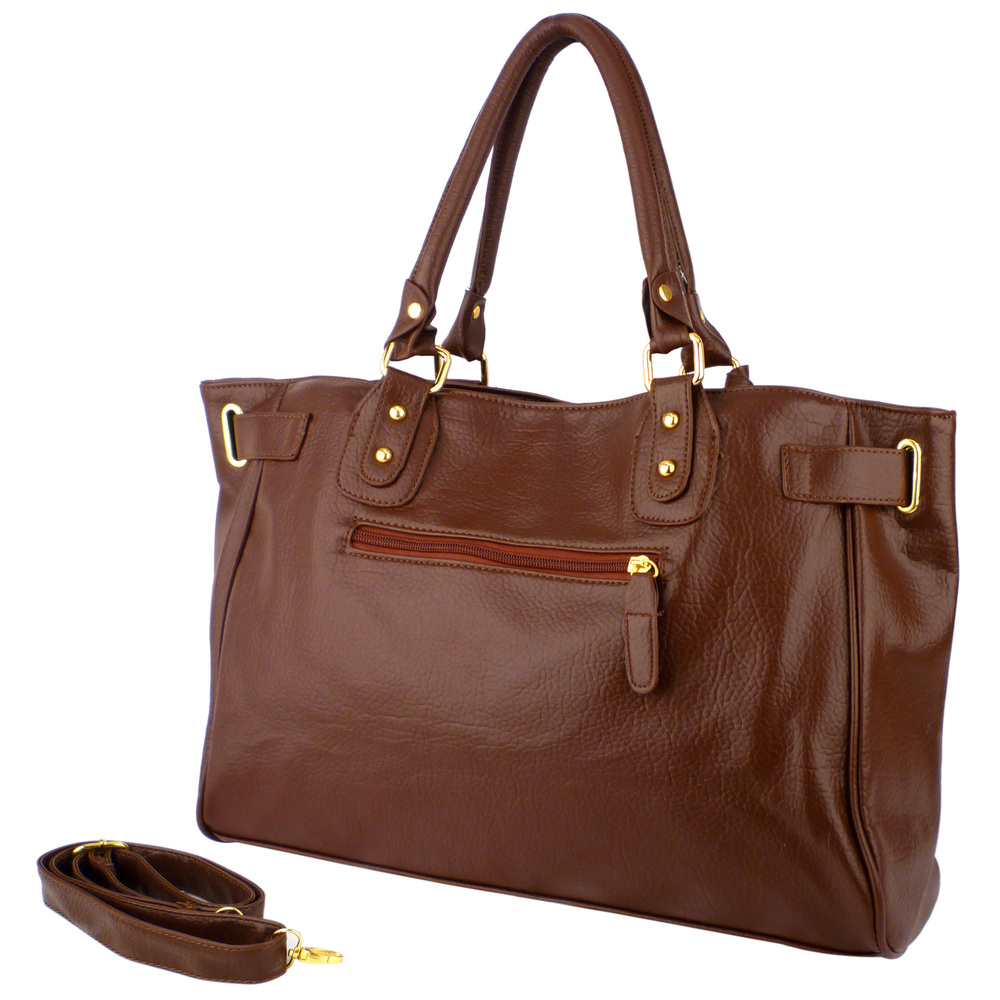 LUCCA Mahogany Padlock Shopper Purse back