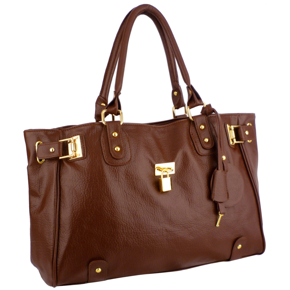 LUCCA Mahogany Padlock Shopper Purse Main