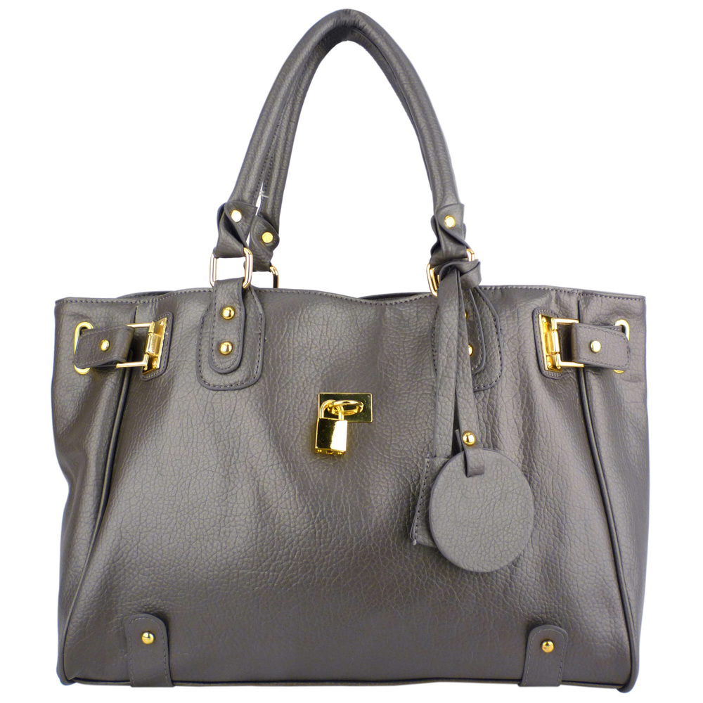 LUCCA Grey Padlock Shopper Purse Front