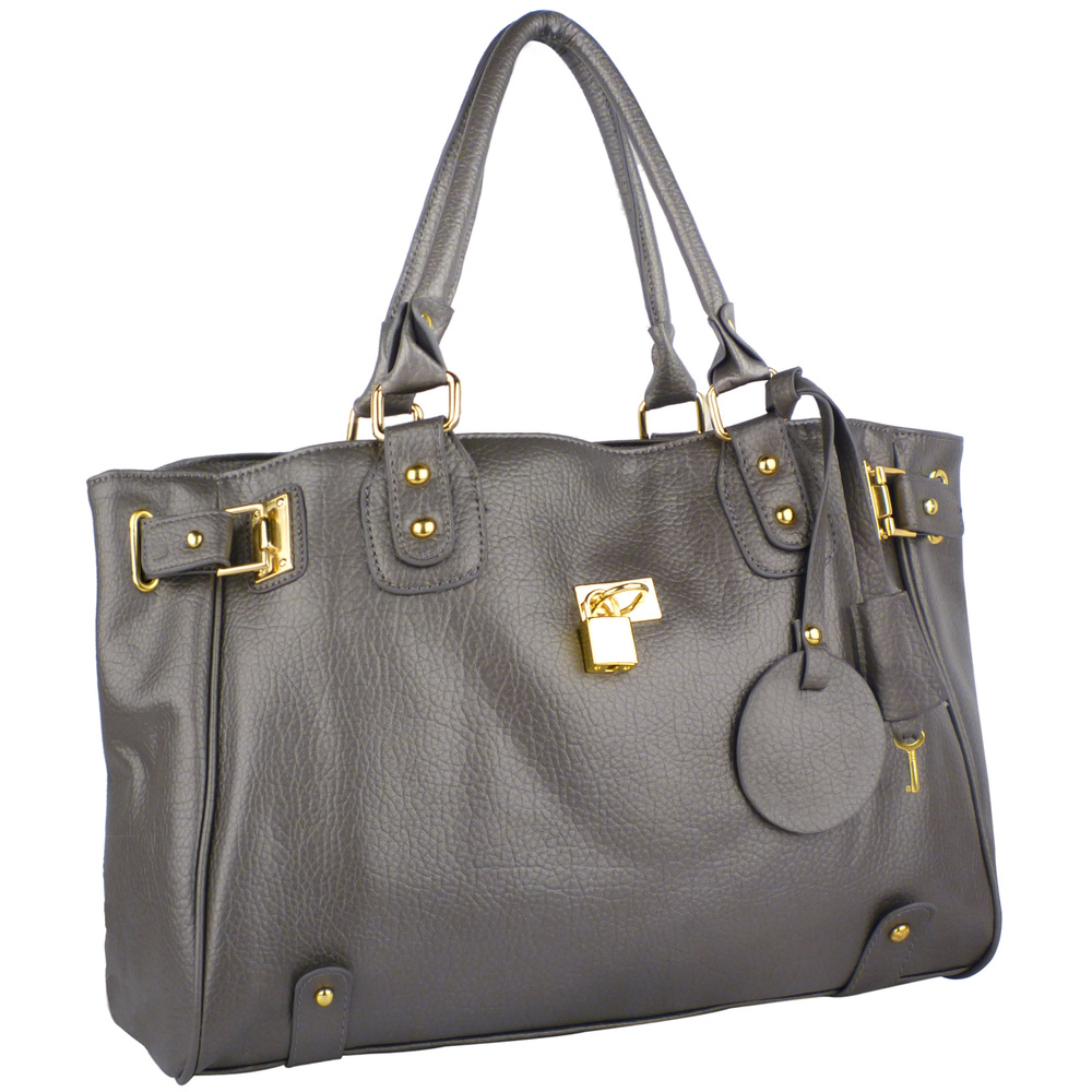 LUCCA Grey Padlock Shopper Purse Main