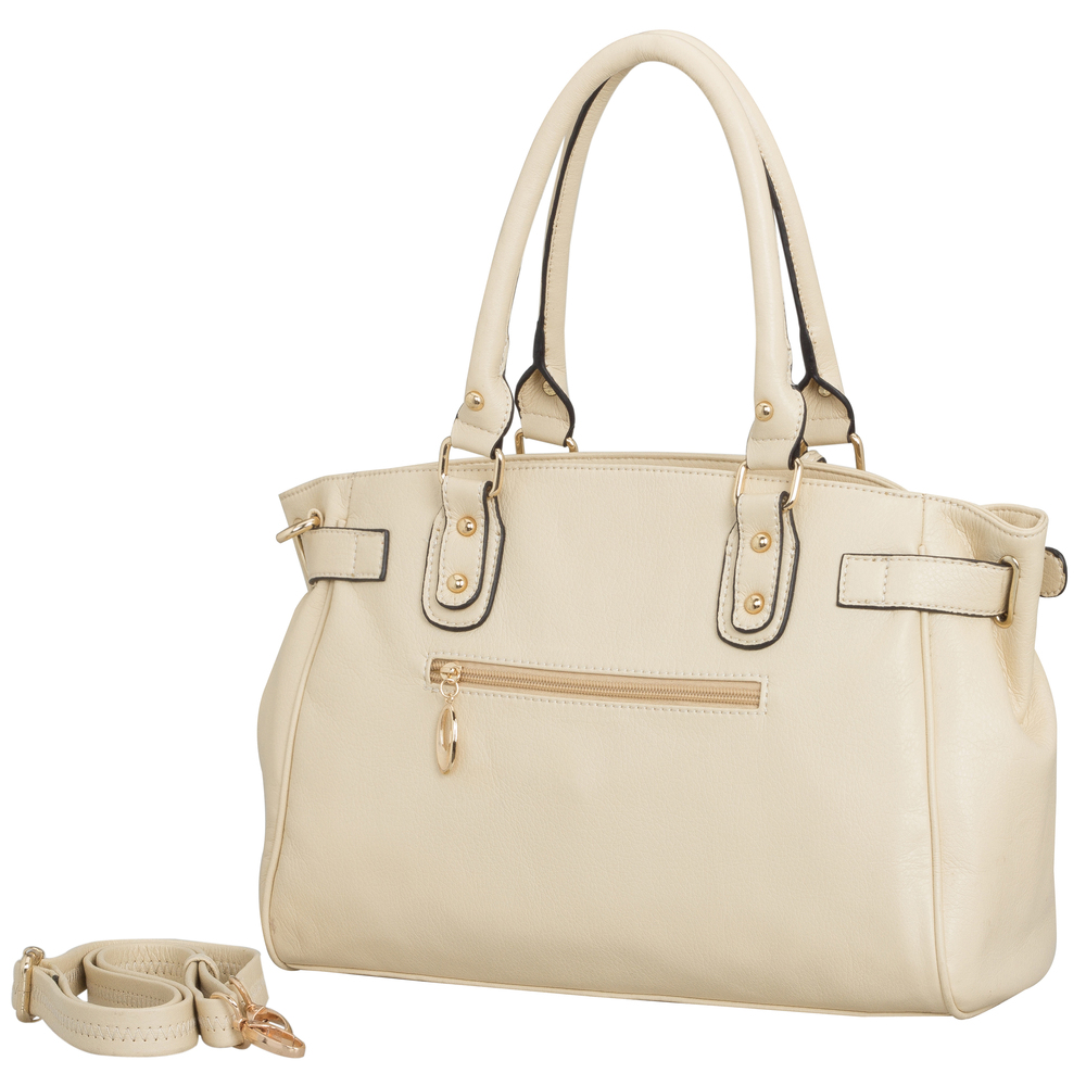 LUCCA Beige Padlock Shopper Purse Back