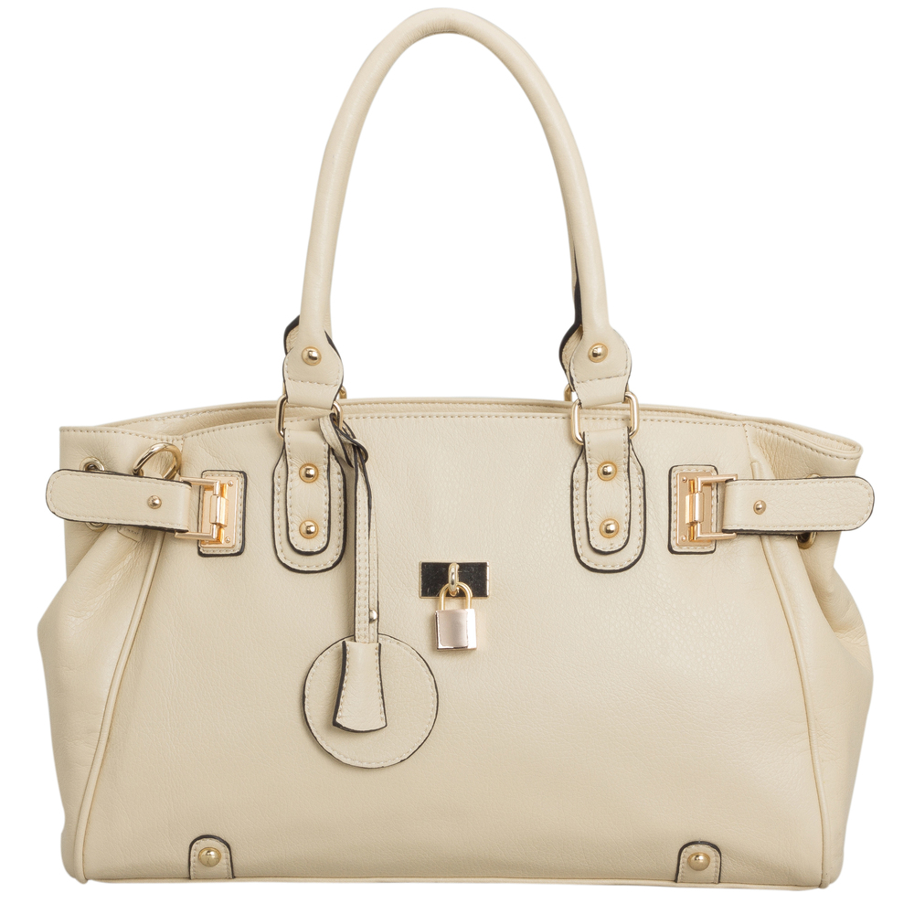 LUCCA Beige Padlock Shopper Purse Front