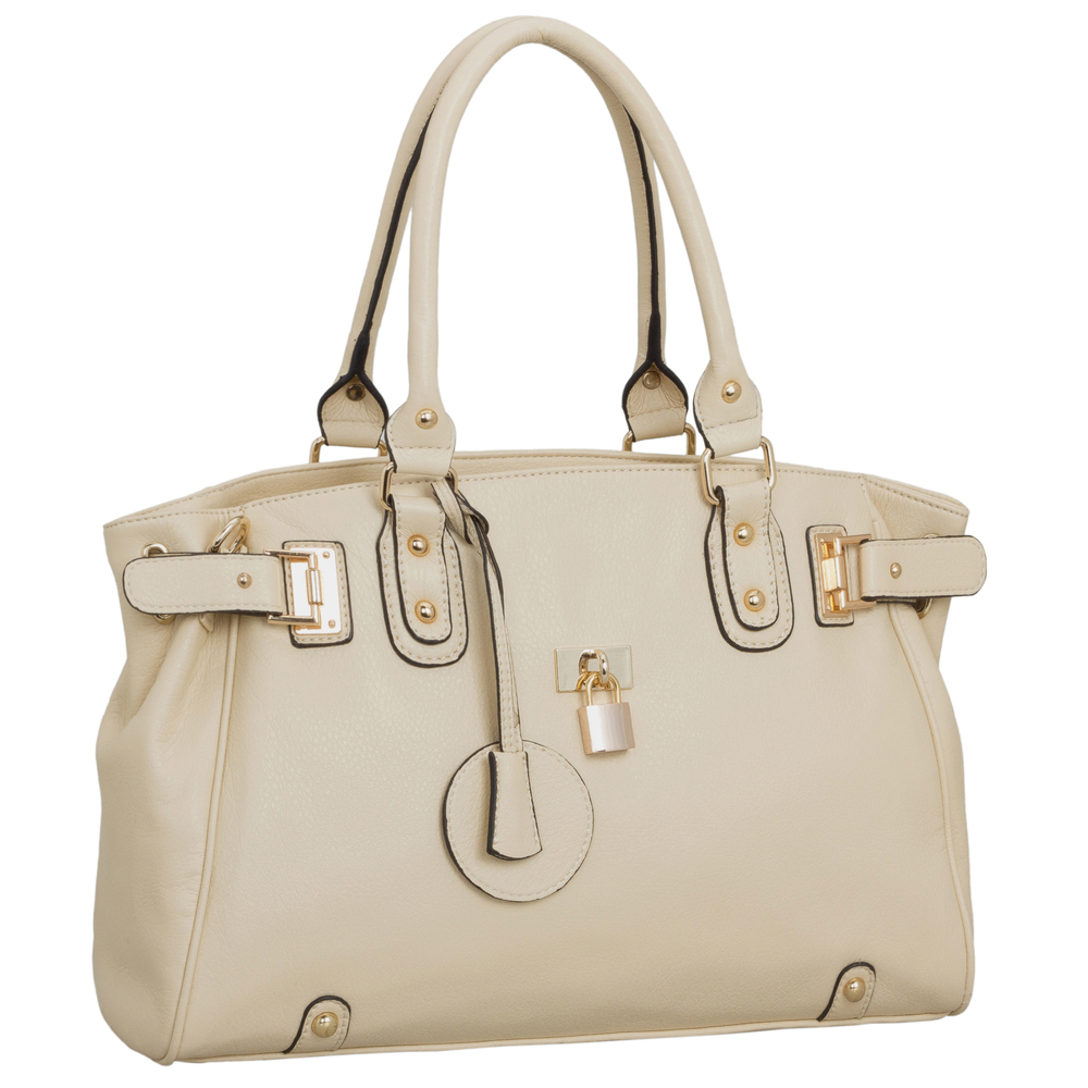 LUCCA Beige Padlock Shopper Purse main