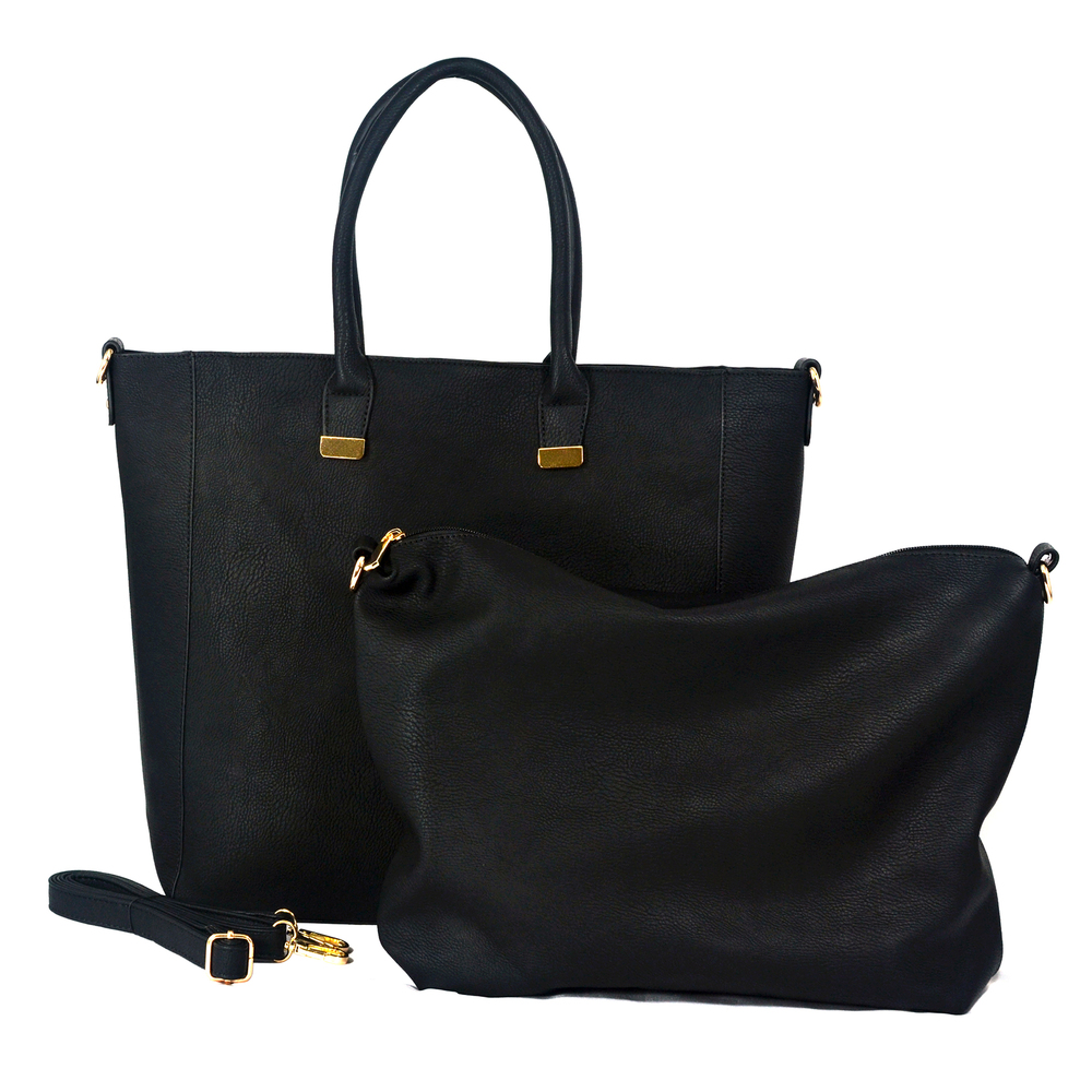 PENELOPE Black Bucket Shopper Tote Purse Main