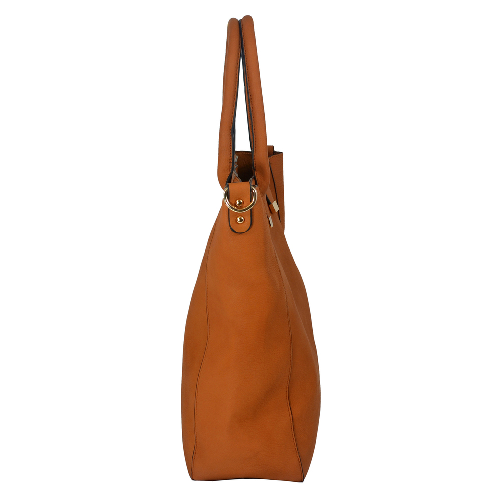 PENELOPE Brown Bucket Shopper Tote Purse Side