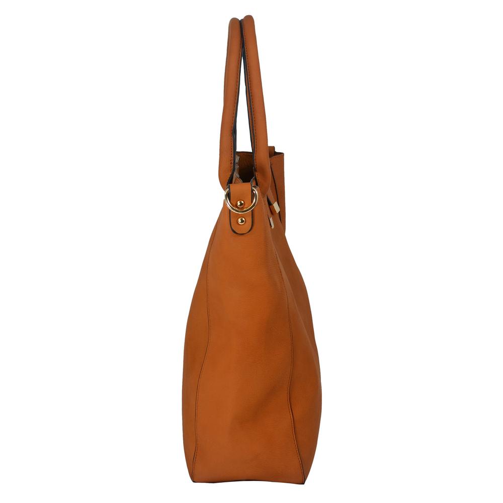 PENELOPE Brown Bucket Shopper Tote Purse Side