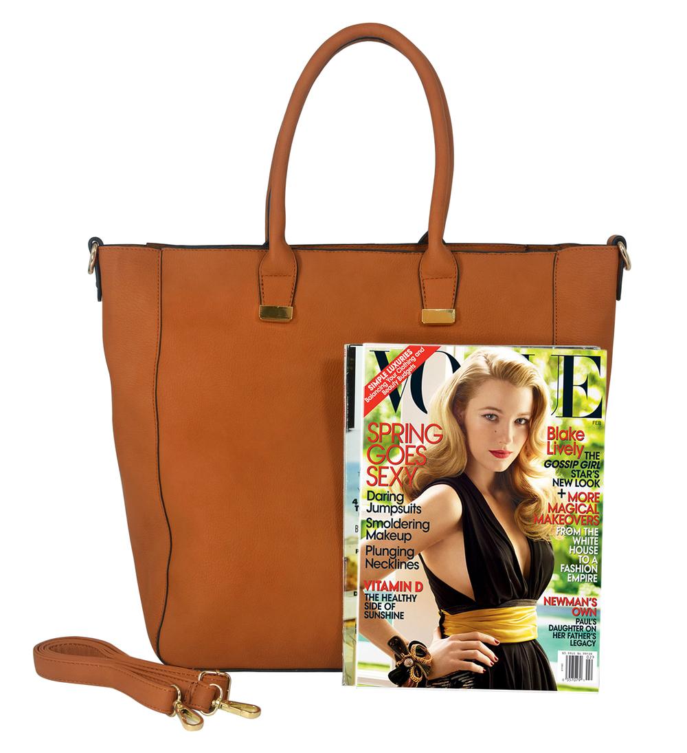 PENELOPE Brown Bucket Shopper Tote Purse Size