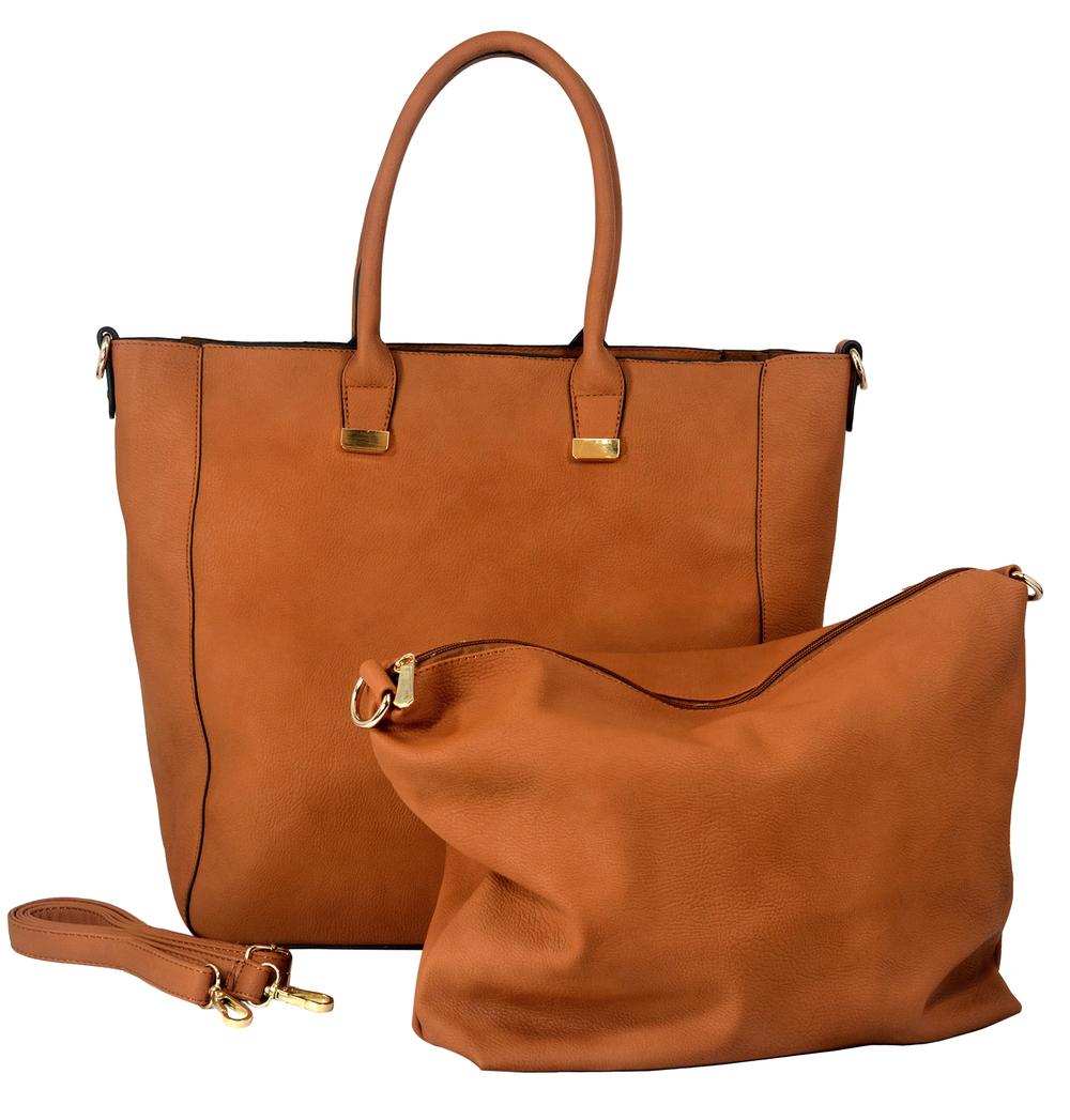 PENELOPE Brown Bucket Shopper Tote Purse Main