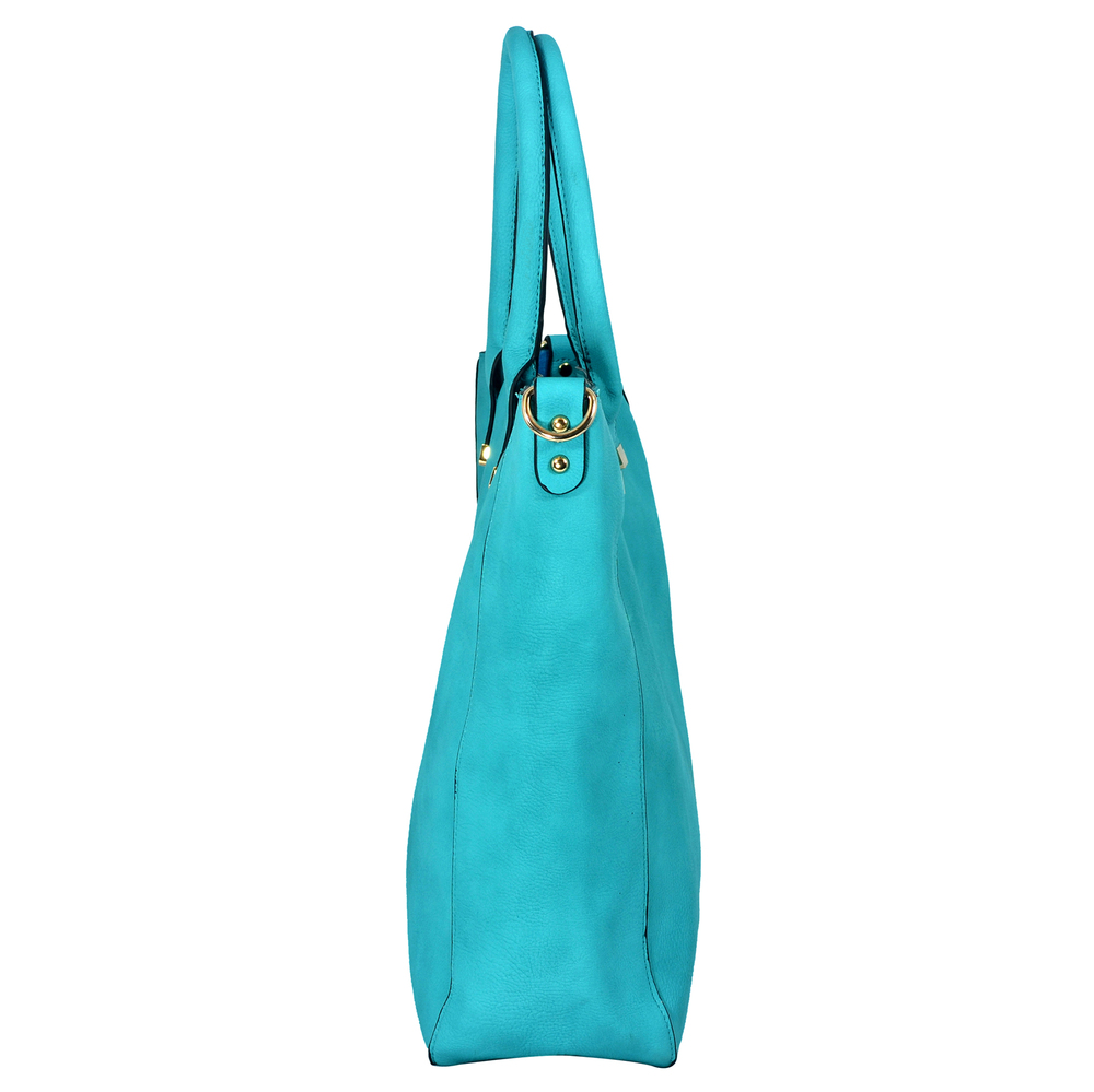 PENELOPE Turquoise Bucket Shopper Tote Purse Side