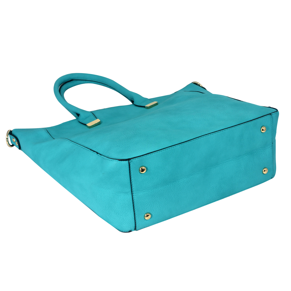 PENELOPE Turquoise Bucket Shopper Tote Purse Bottom