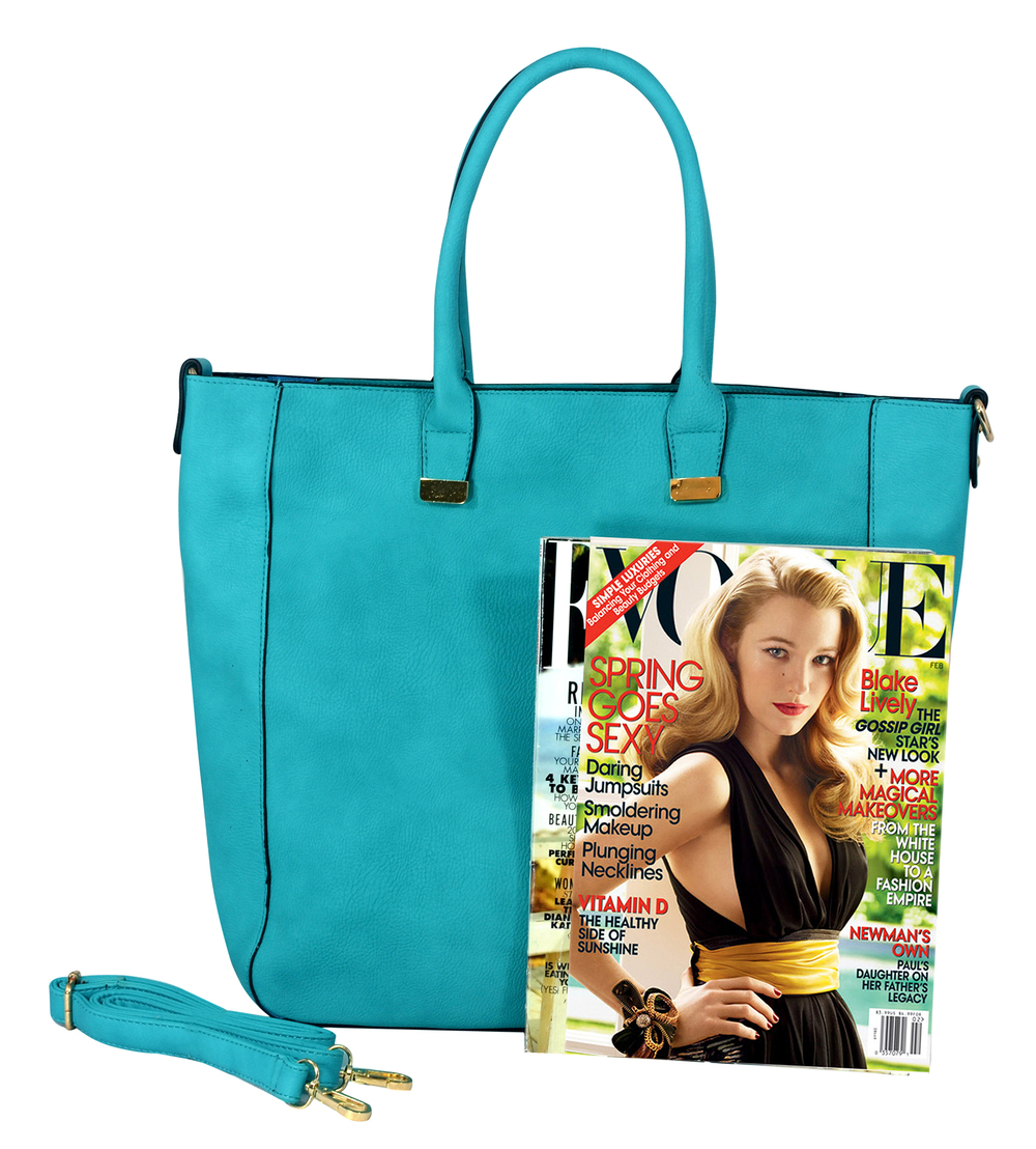 PENELOPE Turquoise Bucket Shopper Tote Purse Size