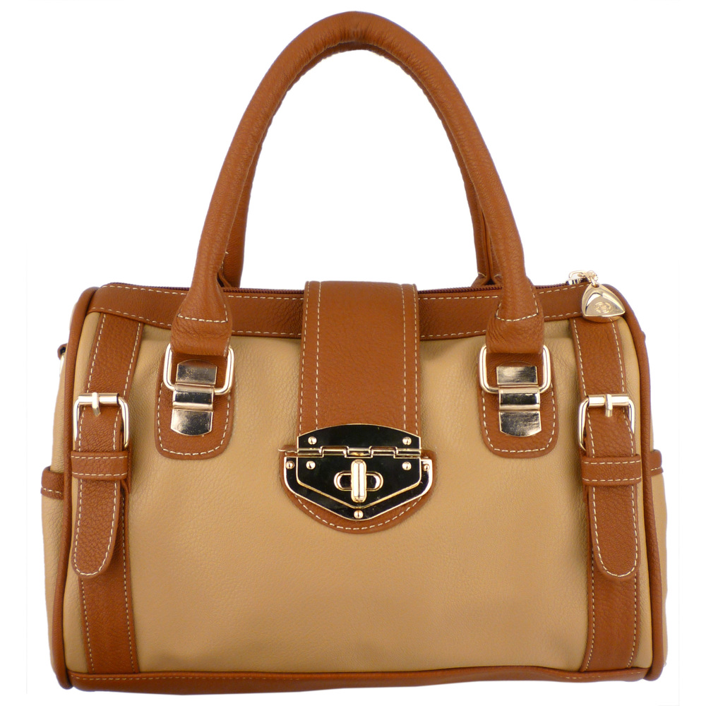BRADLEY Brown Dual-tone Bowler Style Handbag Front