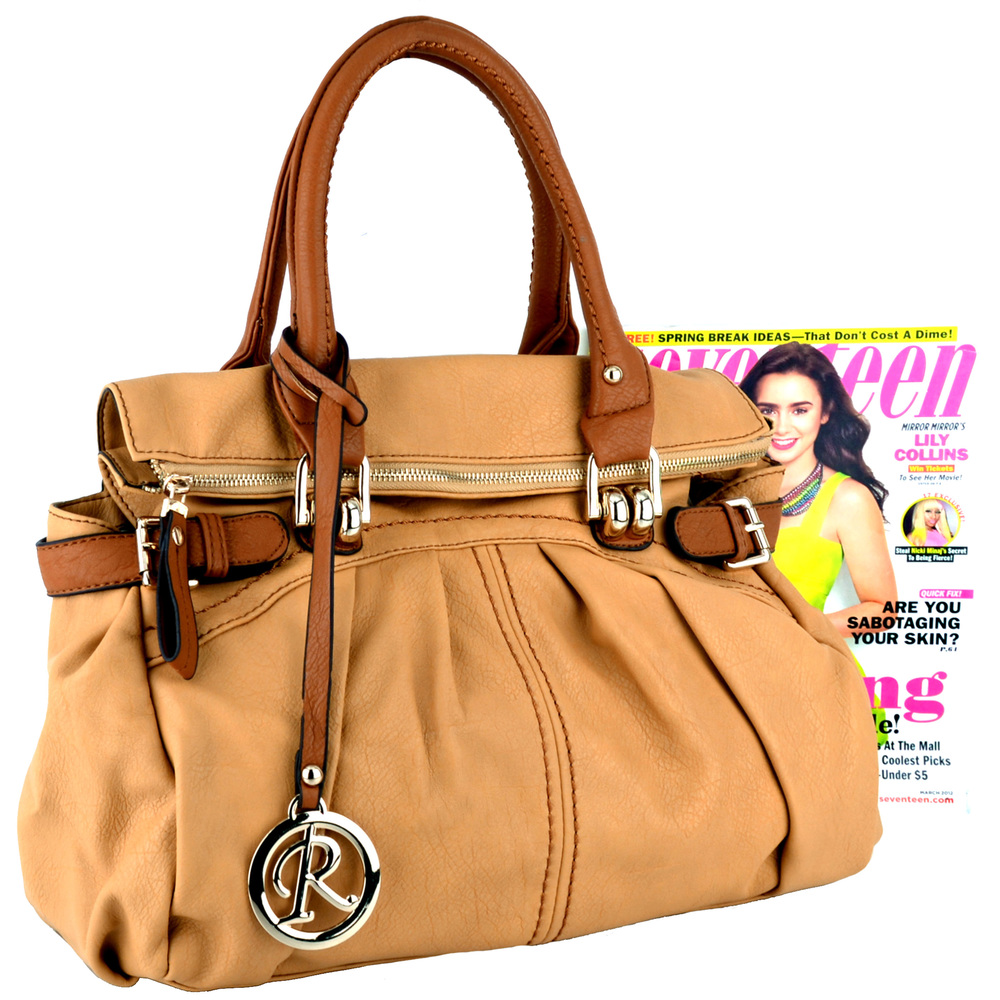 GABBY Tan Shopper Hobo Handbag Size