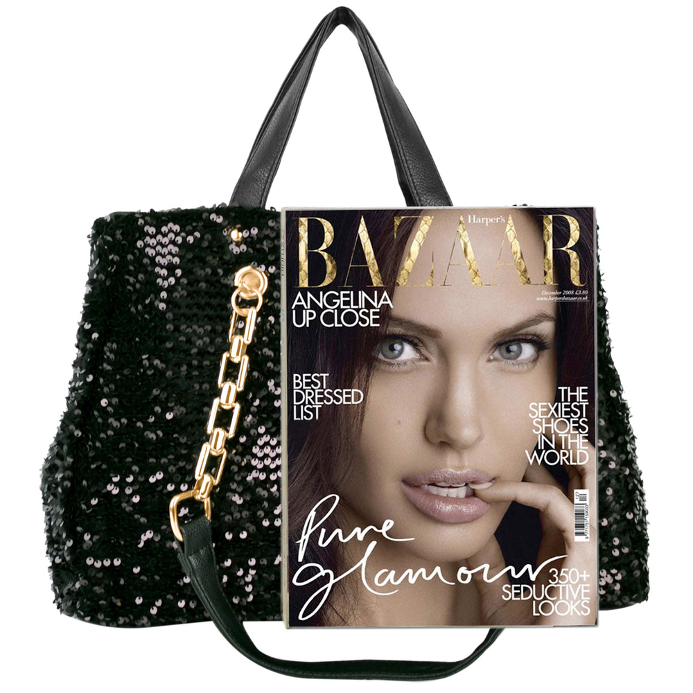 Noelia black sequined handbag size comparison image