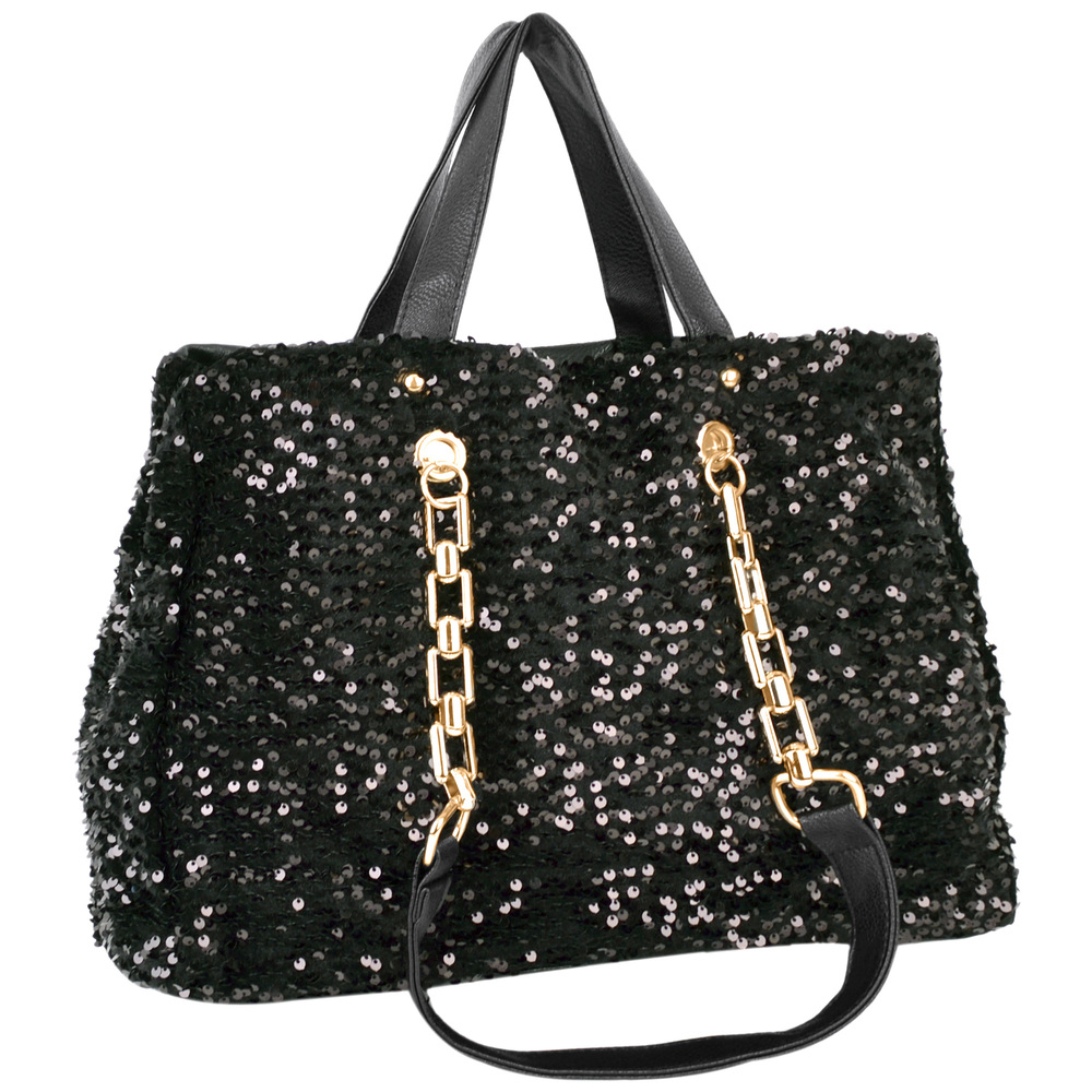 Noelia black sequined handbag main image
