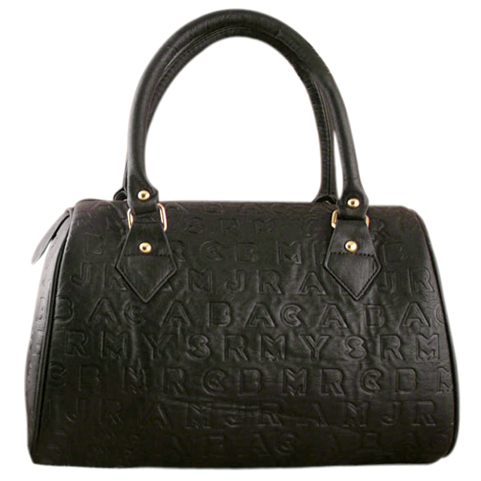 TANYA black embossed alphabet tote front image