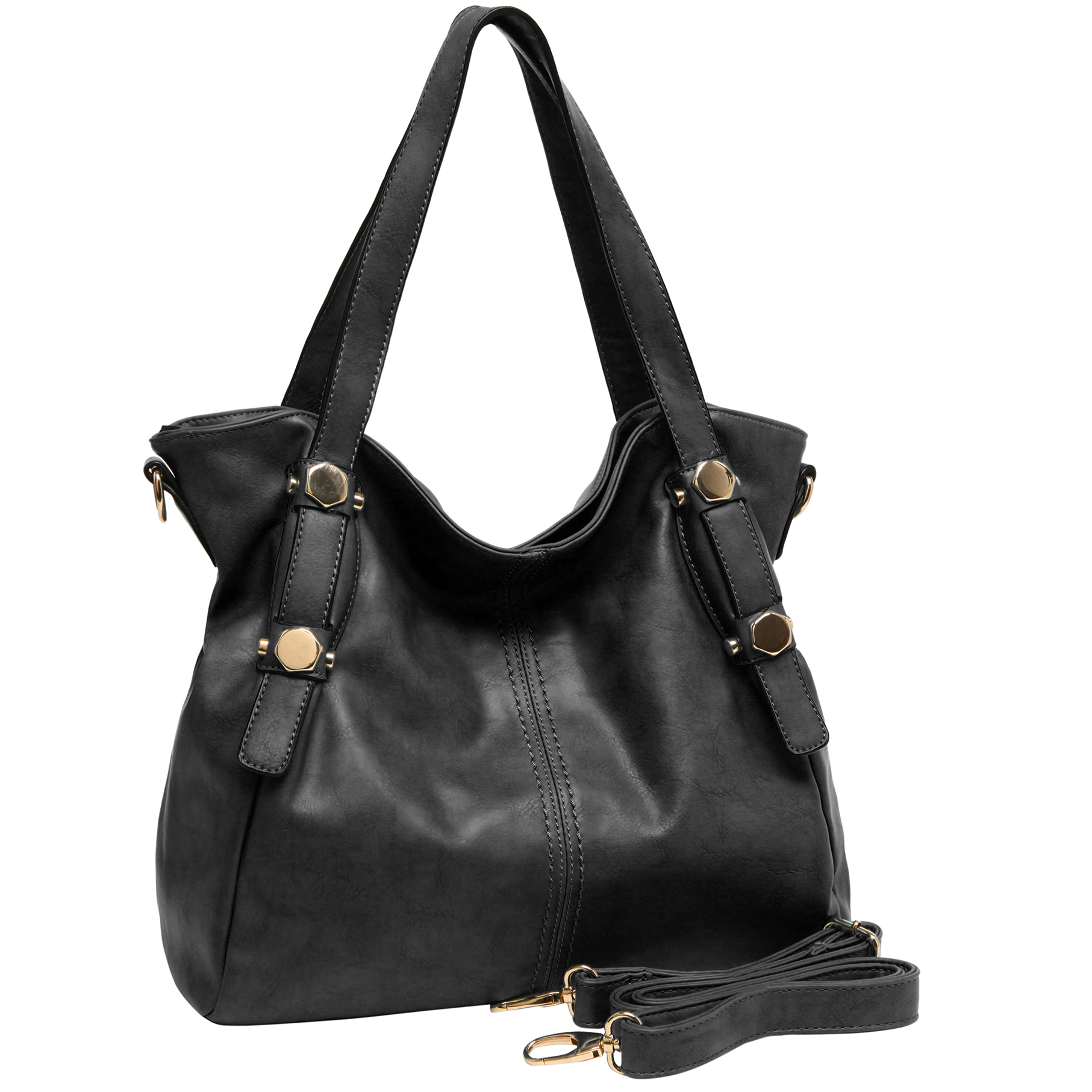 CASIE Black Slouchy Shoulder Bag — MG Collection®