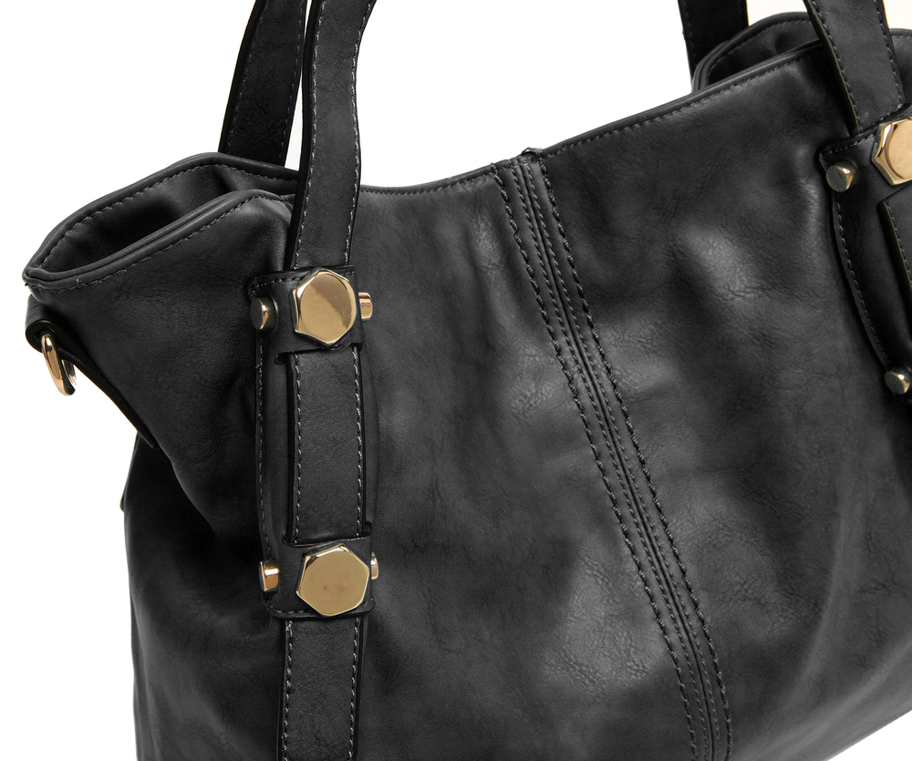 Casie black PU leather shoulder bag closeup shot