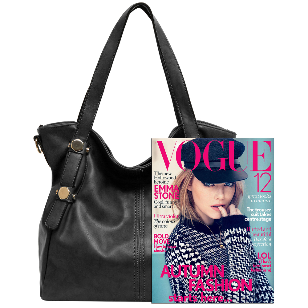 Casie black PU leather shoulder bag size comparison image