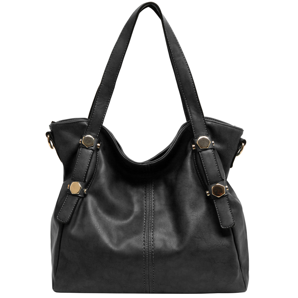 Casie black PU leather shoulder bag front image