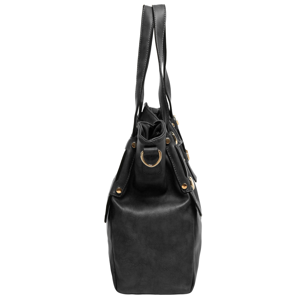 Casie black PU leather shoulder bag side image