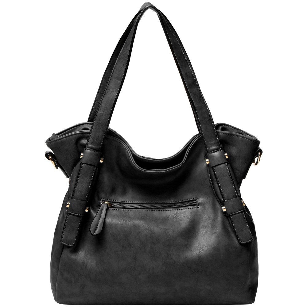 Casie black PU leather shoulder bag back image showing handbag slouch & exterior pocketCasie black PU leather shoulder bag Casie black PU leather shoulder bag