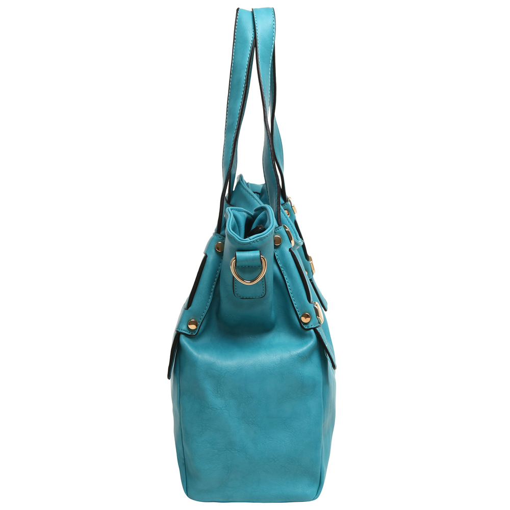 Casie Turquoise Slouchy Tote Handbag side image